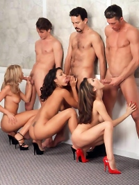 Horny Pornstar Babes Engaging in Wild Hardcore Group Fucking