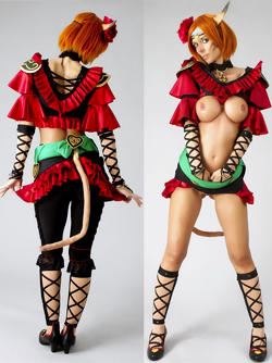 Sexy redhead with Big Tits Lana Cosplaying Mithra in Final Fantasy