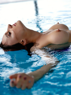 Swimming Pool Pleasure - Busty and Fit Brunette Babe Melanie
