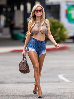Brazilian Model Ana Braga Sheer Mesh Top and Ripped Denim Shorts