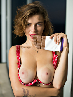 Chocolate Makes me Horny - Big Boobed Babe Marina Visconti