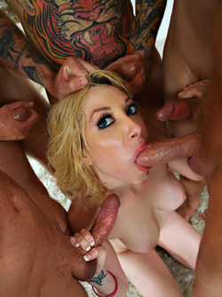 Gangbang Party with Gia Love - Five Guys Fuck One Horny Blonde